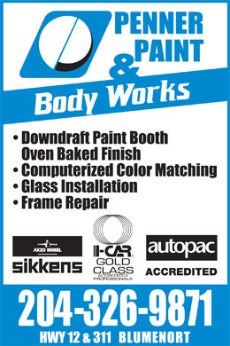 Penner Paint & Body Works (204-326-9871) - Annonce illustrée