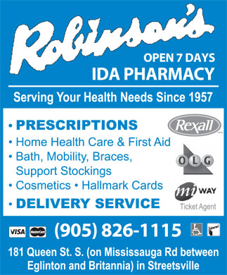 Robinsons IDA Pharmacy (905-826-1115) - Display Ad