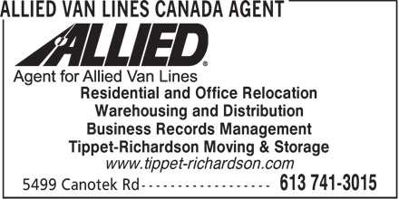 Allied Van Lines Canada Agent (613-741-3015) - Display Ad - Residential and Office Relocation Warehousing and Distribution Business Records Management Tippet-Richardson Moving & Storage www.tippet-richardson.com