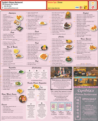 Cynthia's Chinese Restaurant (905-338-1818) - Menu