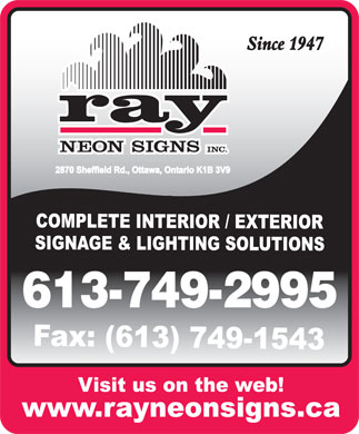 Ray Neon Signs Inc (613-749-2995) - Annonce illustr&eacute;e - 613-749-2995  613-749-2995  613-749-2995