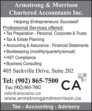 Armstrong &amp; Morrison Chartered Accountants Inc (902-865-7500) - Annonce illustr&eacute;e