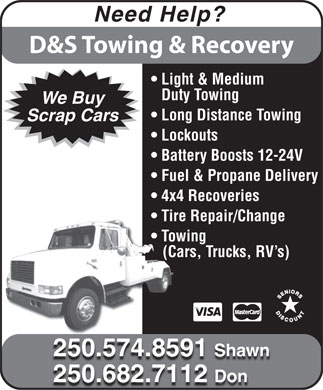 D&S Towing (250-574-8591) - Display Ad