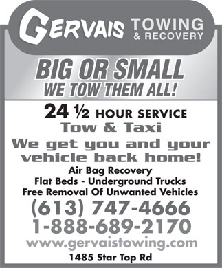 Gervais Towing & Recovery (613-909-7458) - Display Ad