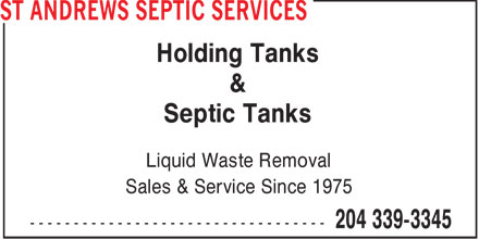 St Andrews Septic Services (204-339-3345) - Display Ad - Holding Tanks & Septic Tanks Liquid Waste Removal Sales & Service Since 1975  Holding Tanks & Septic Tanks Liquid Waste Removal Sales & Service Since 1975