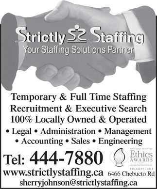 Strictly Staffing Inc (902-444-7880) - Annonce illustrée