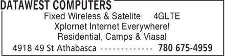 DataWest Computers (780-675-4959) - Annonce illustrée - Fixed Wireless & Satelite 4GLTE Xplornet Internet Everywhere! Residential, Camps & Viasal Fixed Wireless & Satelite 4GLTE Xplornet Internet Everywhere! Residential, Camps & Viasal
