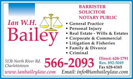 Bailey Ian W H (902-566-2093) - Annonce illustr&eacute;e