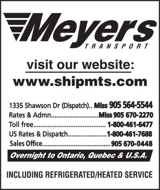 Meyers Transport Ltd (905-564-5544) - Annonce illustrée