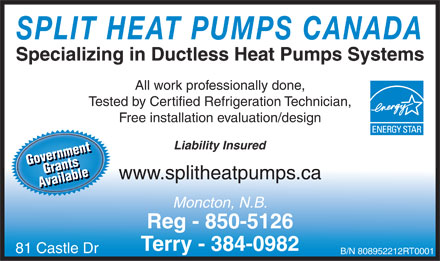 Split Heat Pumps Canada (506-850-5126) - Display Ad