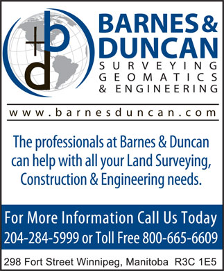 Barnes & Duncan Land Surveying & Engineering (204-515-3139) - Display Ad