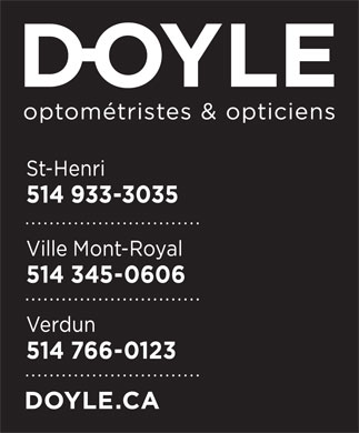 Doyle Optométristes & Opticiens (514-933-3035) - Display Ad