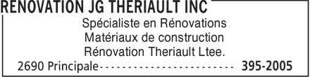 Rénovation JG Thériault Inc. (506-395-2005) - Display Ad