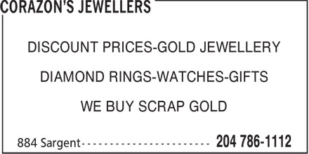 Corazon's Jewellers (204-786-1112) - Annonce illustrée - DISCOUNT PRICES-GOLD JEWELLERY DIAMOND RINGS-WATCHES-GIFTS WE BUY SCRAP GOLD
