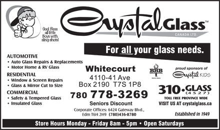 Crystal Glass Canada Ltd (780-778-3269) - Annonce illustrée