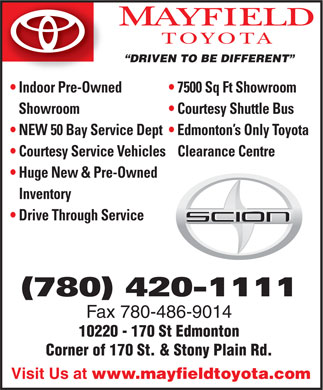 Mayfield Toyota (780-420-1111) - Display Ad
