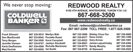 Coldwell Banker-Redwood Realty (867-668-3500) - Display Ad