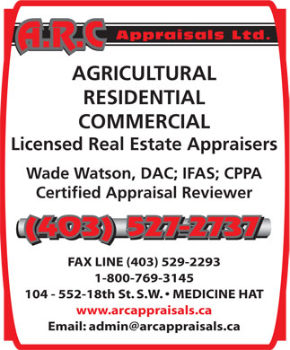 A R C Appraisals Ltd (403-527-2737) - Display Ad