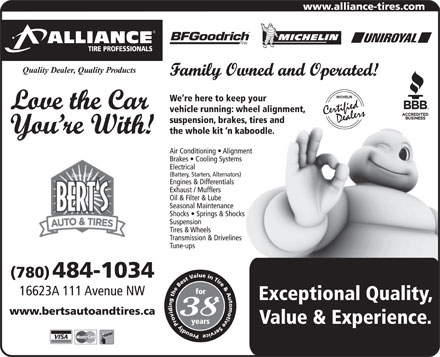 Bert's Auto & Tires-Alliance Tire Professionals (780-484-1034) - Annonce illustrée