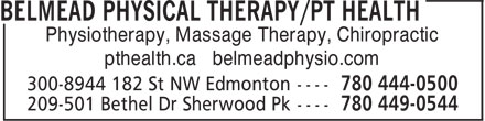 Belmead Physical Therapy / pt Health (780-444-0500) - Display Ad - Physiotherapy, Massage Therapy, Chiropractic pthealth.ca belmeadphysio.com
