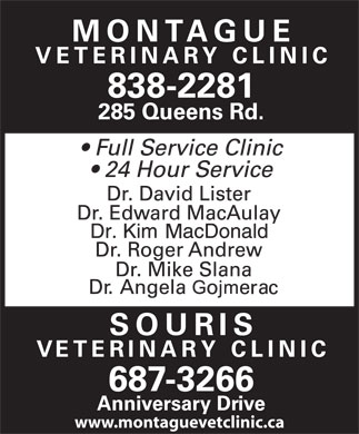 Montague Veterinary Clininc (902-838-2281) - Annonce illustr&eacute;e - www.montaguevetclinic.ca