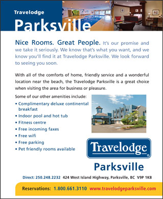 Travelodge Parksville (250-248-2232) - Annonce illustrée - Parksville Direct: 250.248.2232   424 West Island Highway, Parksville, BC  V9P 1K8