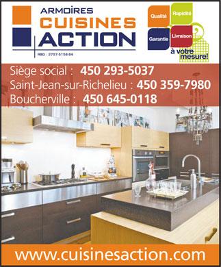 Armoires cuisines action 1550 rue nobel boucherville qc for Armoires de cuisine action