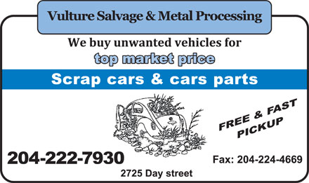 Vulture Salvage Scrap Metal (204-222-7930) - Display Ad