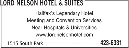 Lord Nelson Hotel &amp; Suites (902-423-6331) - Display Ad