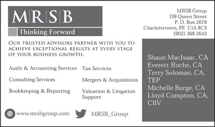 MRSB Chartered Accountants (902-368-2643) - Annonce illustrée