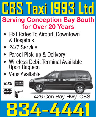 CBS Taxi 1993 Ltd (709-834-4441) - Display Ad