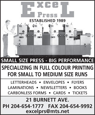 Excel Press (204-654-1777) - Display Ad