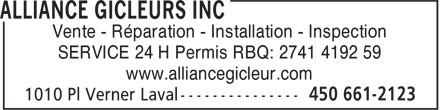 Alliance Gicleurs Inc (450-661-2123) - Annonce illustrée - Vente - Rparation - Installation - Inspection SERVICE 24 H Permis RBQ: 2741 4192 59 www.alliancegicleur.com