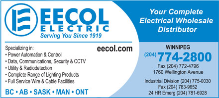 EECOL Electric (204-774-2800) - Display Ad