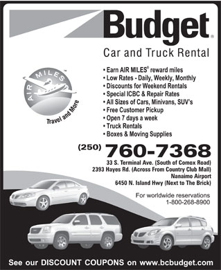 Budget Car & Truck Rentals (250-760-7368) - Display Ad