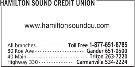 Hamilton Sound Credit Union (709-534-2224) - Display Ad - www.hamiltonsoundcu.com