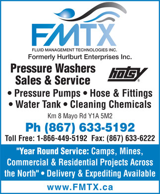 Fluid Management Technologies Inc - FMTX (867-633-5192) - Annonce illustrée