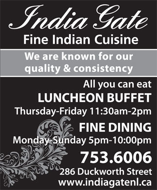 India Gate Restaurant (709-753-6006) - Annonce illustrée