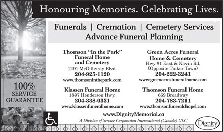 "Thomson ""in The Park"" Funeral Home and Cemetery (204-925-1120) - Display Ad"