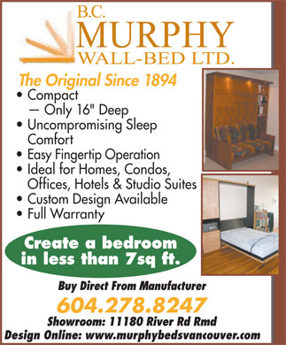 B.C. Murphy Wall-Bed Ltd (604-278-8247) - Annonce illustrée