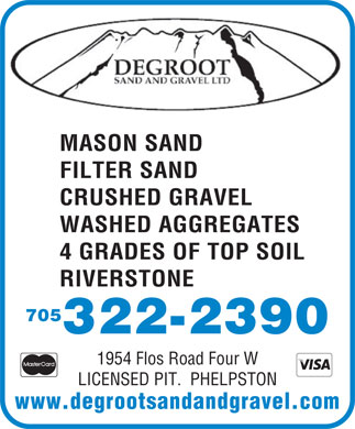 DeGroot Sand &amp; Gravel Ltd (705-322-2390) - Display Ad - MASON SANDMASON SAND FILTER SANDFILTER SAND CRUSHED GRAVELCRUSHED GRAVEL WASHED AGGREGATESWASHED AGGREGATES 4 GRADES OF TOP SOIL RIVERSTONE 705 322-2390 1954 Flos Road Four W LICENSED PIT.  PHELPSTON www.degrootsandandgravel.com MASON SANDMASON SAND FILTER SANDFILTER SAND CRUSHED GRAVELCRUSHED GRAVEL WASHED AGGREGATESWASHED AGGREGATES 4 GRADES OF TOP SOIL RIVERSTONE 705 322-2390 1954 Flos Road Four W LICENSED PIT.  PHELPSTON www.degrootsandandgravel.com