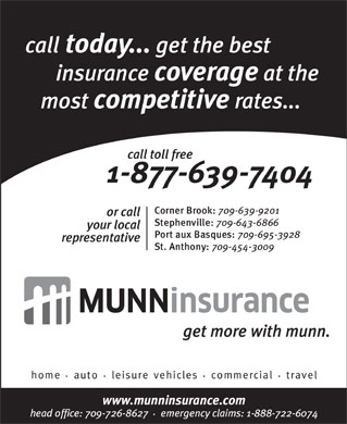 MUNN INSURANCE (709-639-9201) - Display Ad