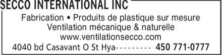 Secco International Inc (450-771-0777) - Annonce illustrée======= - Fabrication • Produits de plastique sur mesure - Ventilation mécanique & naturelle - www.ventilationsecco.com