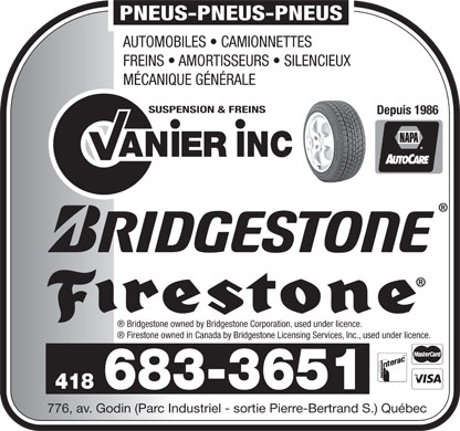 Suspension et Freins Vanier Inc (418-683-3651) - Display Ad