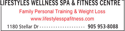 Lifestyles Wellness Spa & Fitness Centre (905-953-8088) - Annonce illustrée - Family Personal Training & Weight Loss www.lifestylesspafitness.com