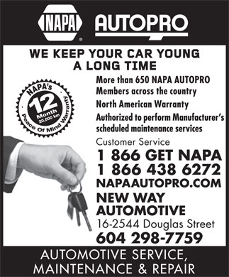 NAPA Autopro (1-866-438-6272) - Display Ad