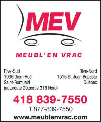Meubl 39 en vrac 1996 3e rue saint romuald qc for Liquida meuble st romuald