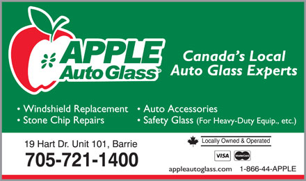Apple Auto Glass (705-721-1400) - Display Ad