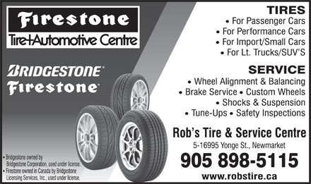 Firestone Tire and Automotive Centres (905-898-5115) - Display Ad