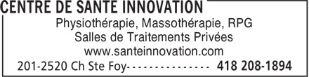 Centre De Santé Innovation (418-208-1894) - Display Ad